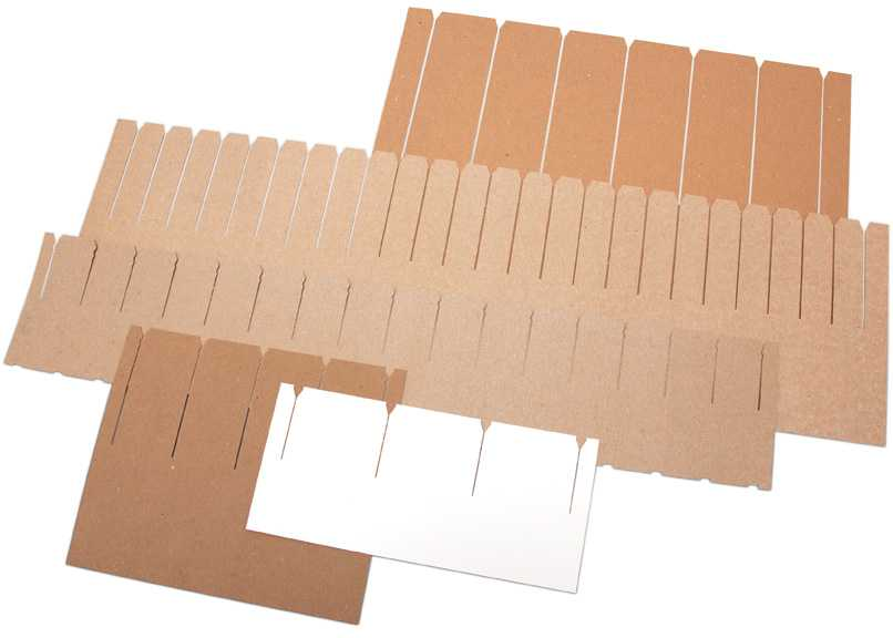 chipboard slotted sheet samples 5sizes b wht